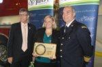 St. Albert Mayor Nolan Crouse, Alberta Chapter Exec. Director Tanya Doran and Fire Chief Ray Richards