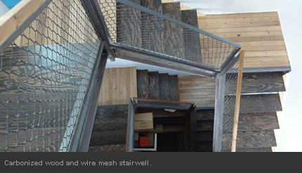 Carbonized wood and wire mesh stairwell.